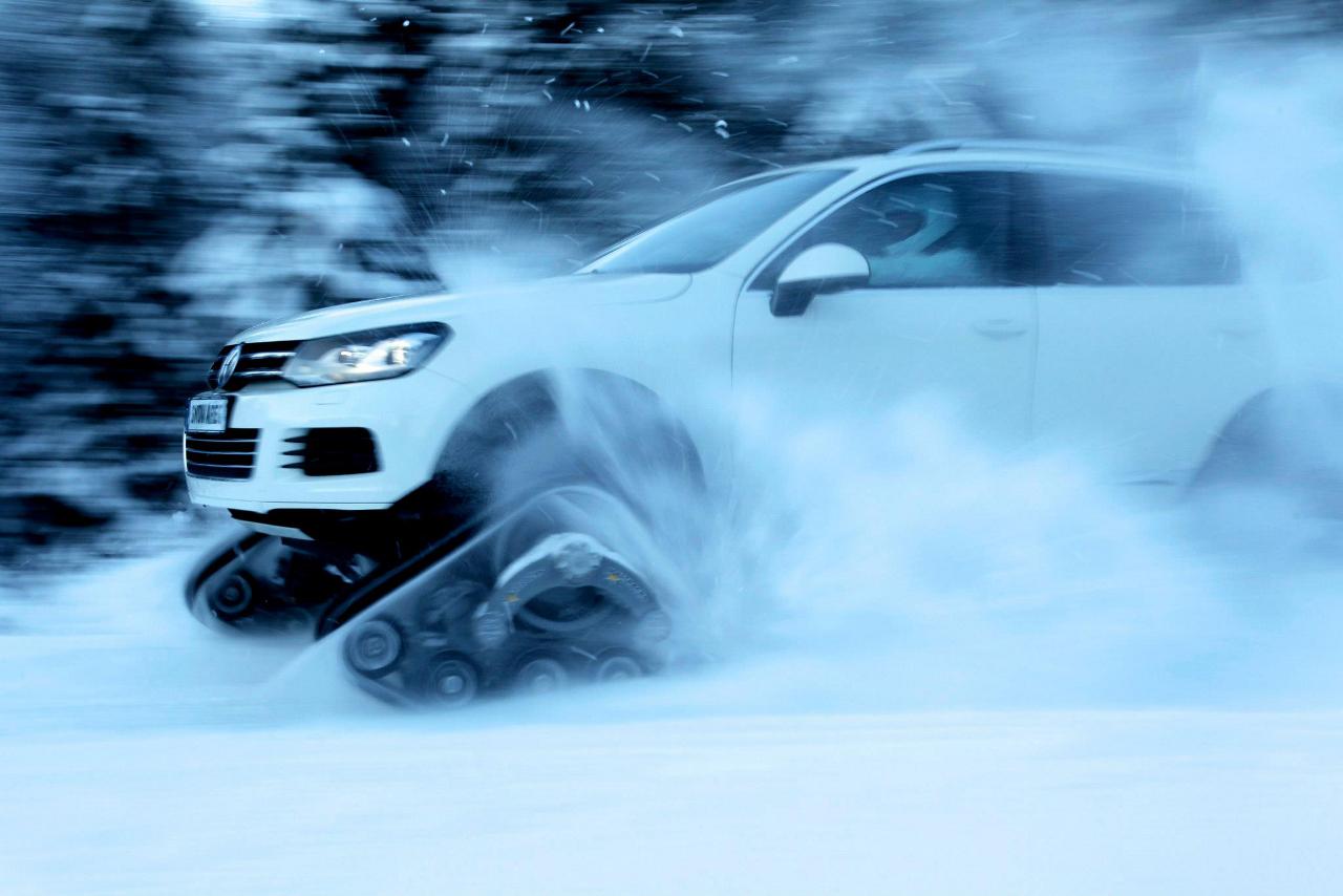 Brama el V8 tdi de 340 CV cuando el Snowareg ingresa a la nieve más alta.