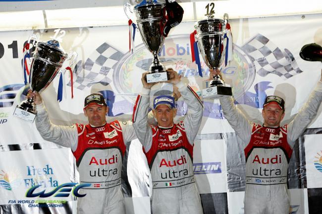 Podio de Sebring 2012. Kristensen, Capello (centro) y Mc Nish compartieron el R18 que hoy es del italiano.