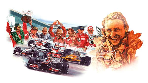 Afiche-homenaje con sus siete campeones, sus autos más importantes y la figura del creador?