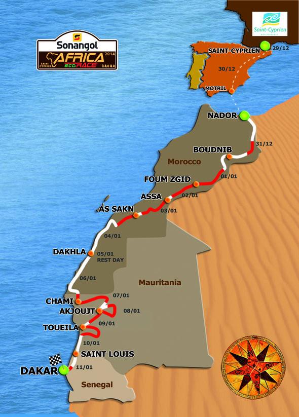Plano de la ruta del Africa Eco-Race 2014, siempre sobre países del Atlántico...