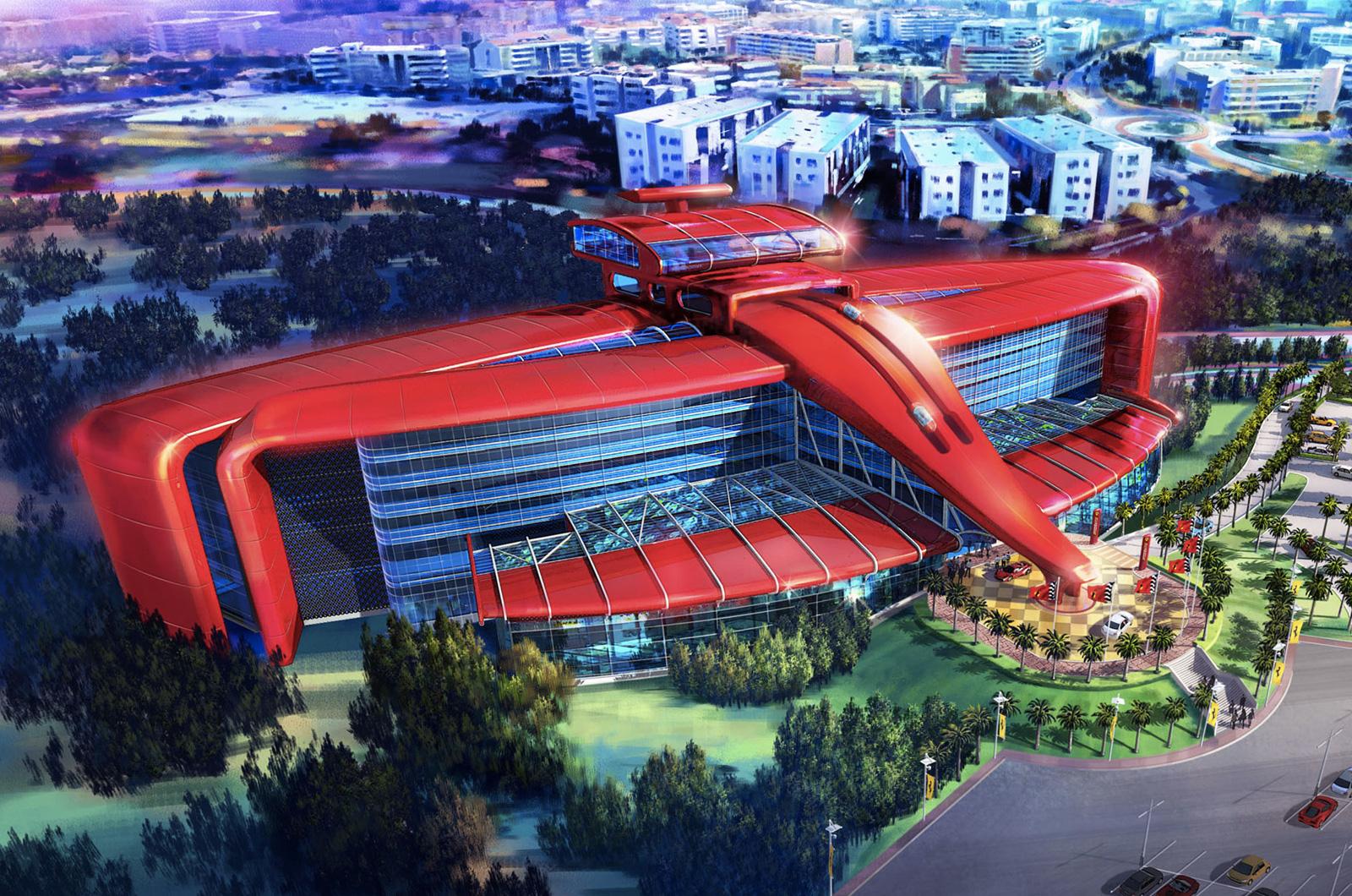 Elocuente arquitectura del nuevo parque temático ferrarista, con mucho que recuerda a una trompa de F1...