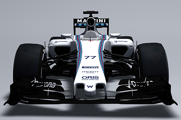 """Arriba, sugestivo tratamiento frontal símil McLaren 2014 del nuevo Williams, declarado como una """"solución de compromiso"""" no precisamente sencilla... Abajo, en general, el monoplaza es una gran pasada en limpio del anterior, afrontando las nuevas regulaciones respecto a la altura de la trompa..."""