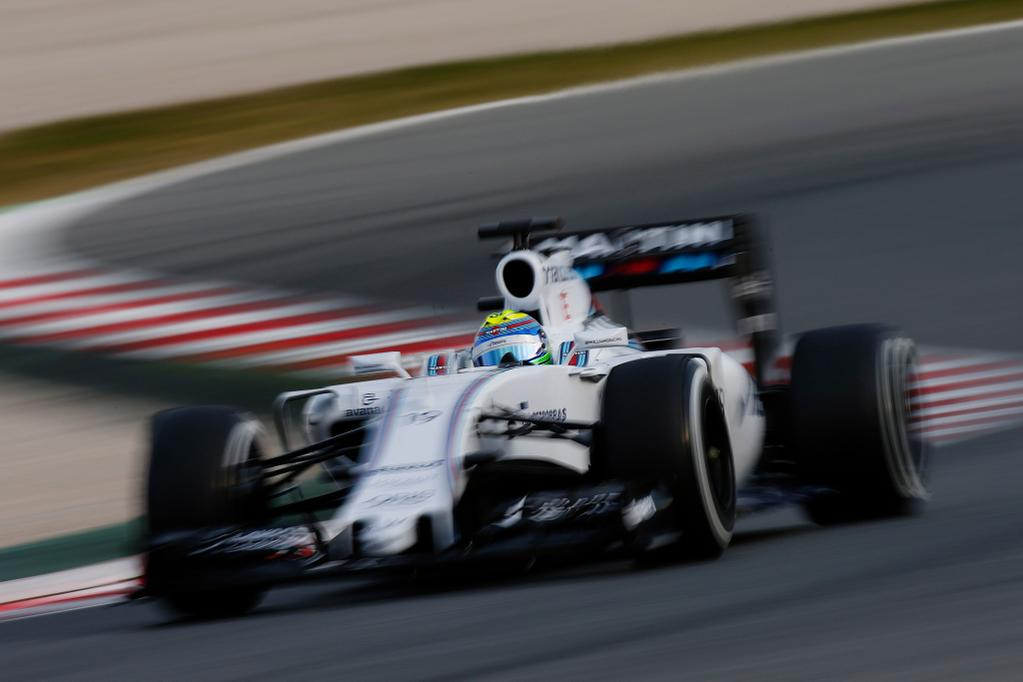 """En una breve tanda de tres vueltas en modo """"clasificación"""", con caucho blando, Massa y el Williams lograron el mejor tiempo absoluto de todo lo hecho por la F1 en Barcelona 2015. La semana pasada mostraron confiabilidad, ahora performance..."""
