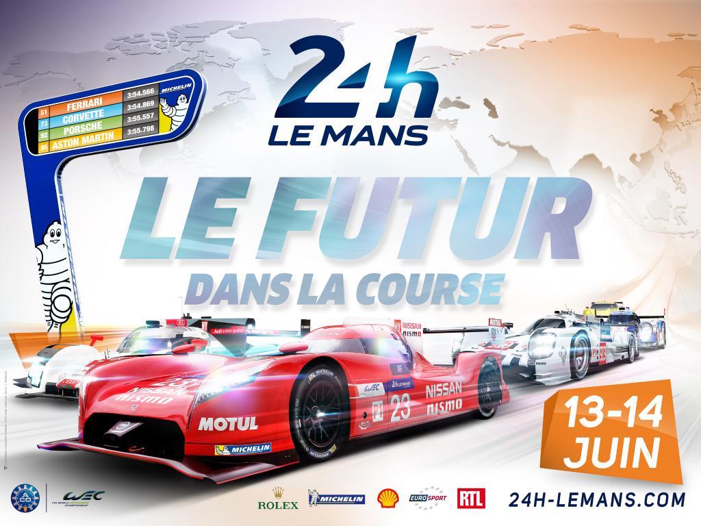 El afiche oficial de la gran carrera formó parte de su lanzamiento hoy en París. Tiene presencia alusiva al retorno de Nissan a las 24 Horas...