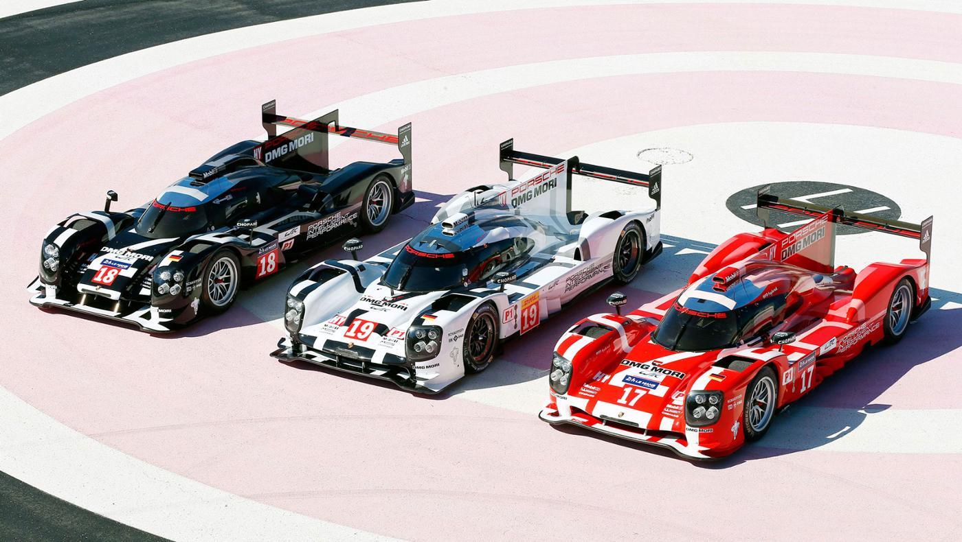 La escuadra Porsche y sus 919 identificados con tres colores, exclusivamente, para correr las 24 Horas de Le Mans...