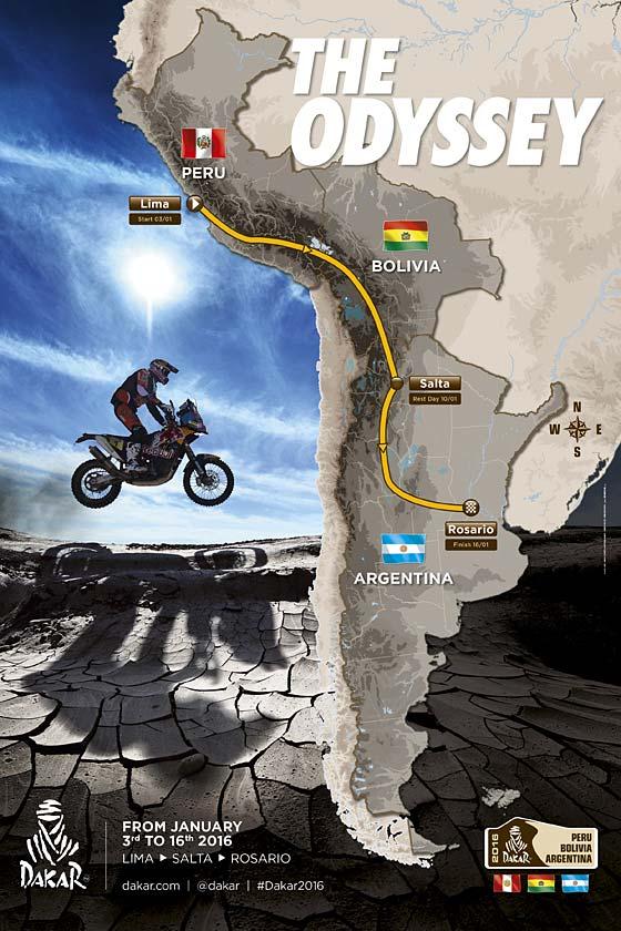 El Dakar 2016 recorrerá parte de Sudamérica con orientación distinta. Una vez más lo hará en sentido lineal y de norte a sur, con destino final en la ciudad de Rosario...