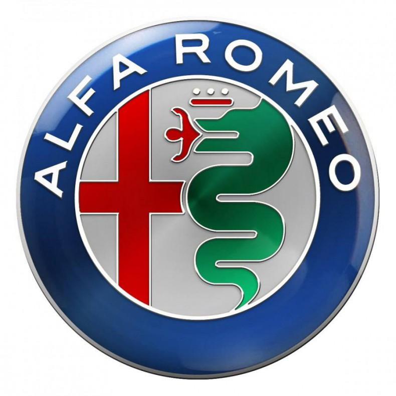 El nuevo logo Alfa Romeo (arriba) comparado con el anterior (abajo)...