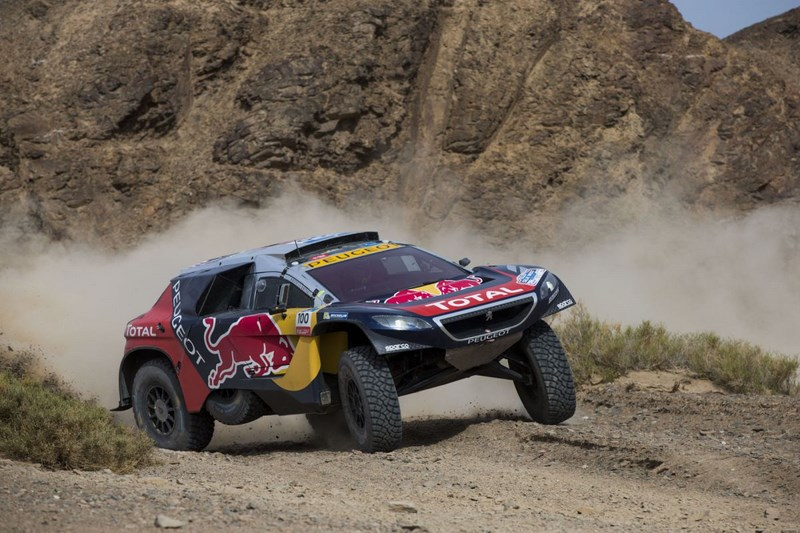 Stephane Peterhansel and Jean-Paul Cottret in the Peugeot 2008 DKR of the Team Peugeot Total in action during stage 10 of the Silk Way Rally, between Hami and Dunhuang, China, on July 19, 2016.