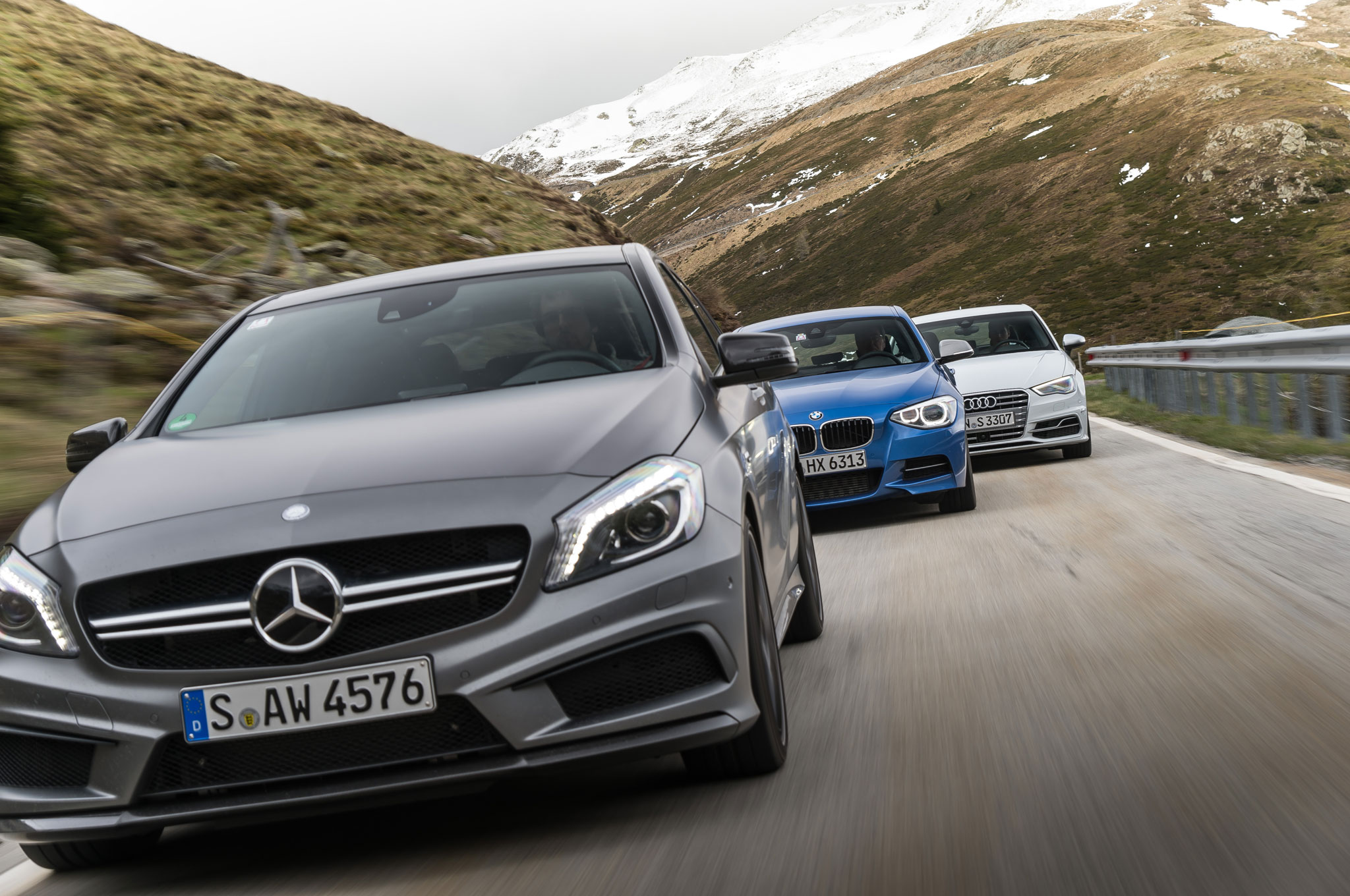 Audi-A3-vs-BMW-M135i-vs-Mercedes-Benz-A45-AMG-front-view