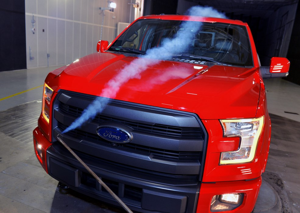 Consumers' appetite for vehicles with greater fuel efficiency and performance has led Ford to invest in a new aerodynamic testing complex that will house a next-generation rolling road wind tunnel and state-of-the-art climatic chamber. Pictured is aerodynamic testing of a Ford F-150 at one of the company's current wind tunnel facilities.