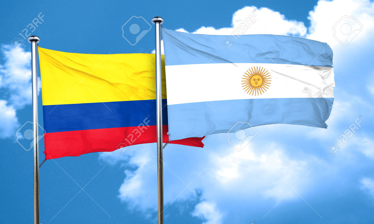Colombia flag with Argentine flag, 3D rendering