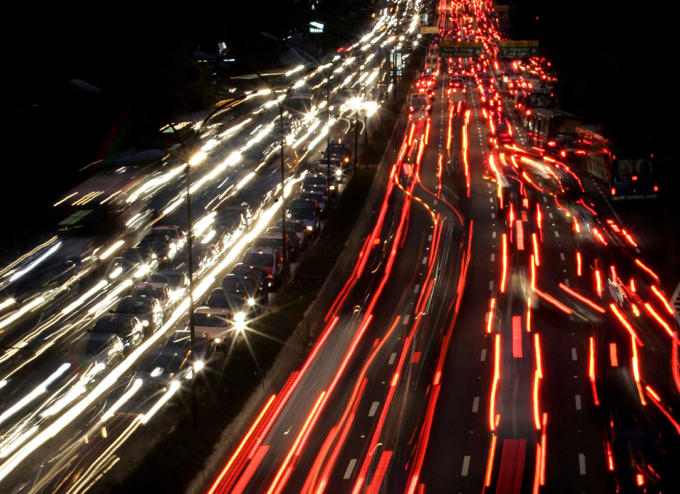 Vehicles crawl during traffic along a major road in Sao Paulo