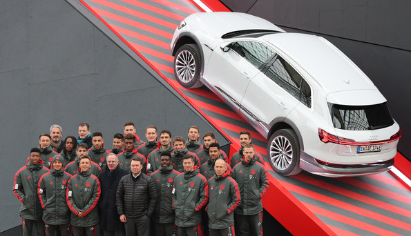 MUNICH, GERMANY - JANUARY 24: At Airport Munich on January 24, 2019 in Munich, Germany.  FC Bayern meets Audi e-tron: FC Bayern was one of the first Audi partners to test drive the new Audi e-tron.  (Photo by Christian Kaspar-Bartke/Getty Images for AUDI)