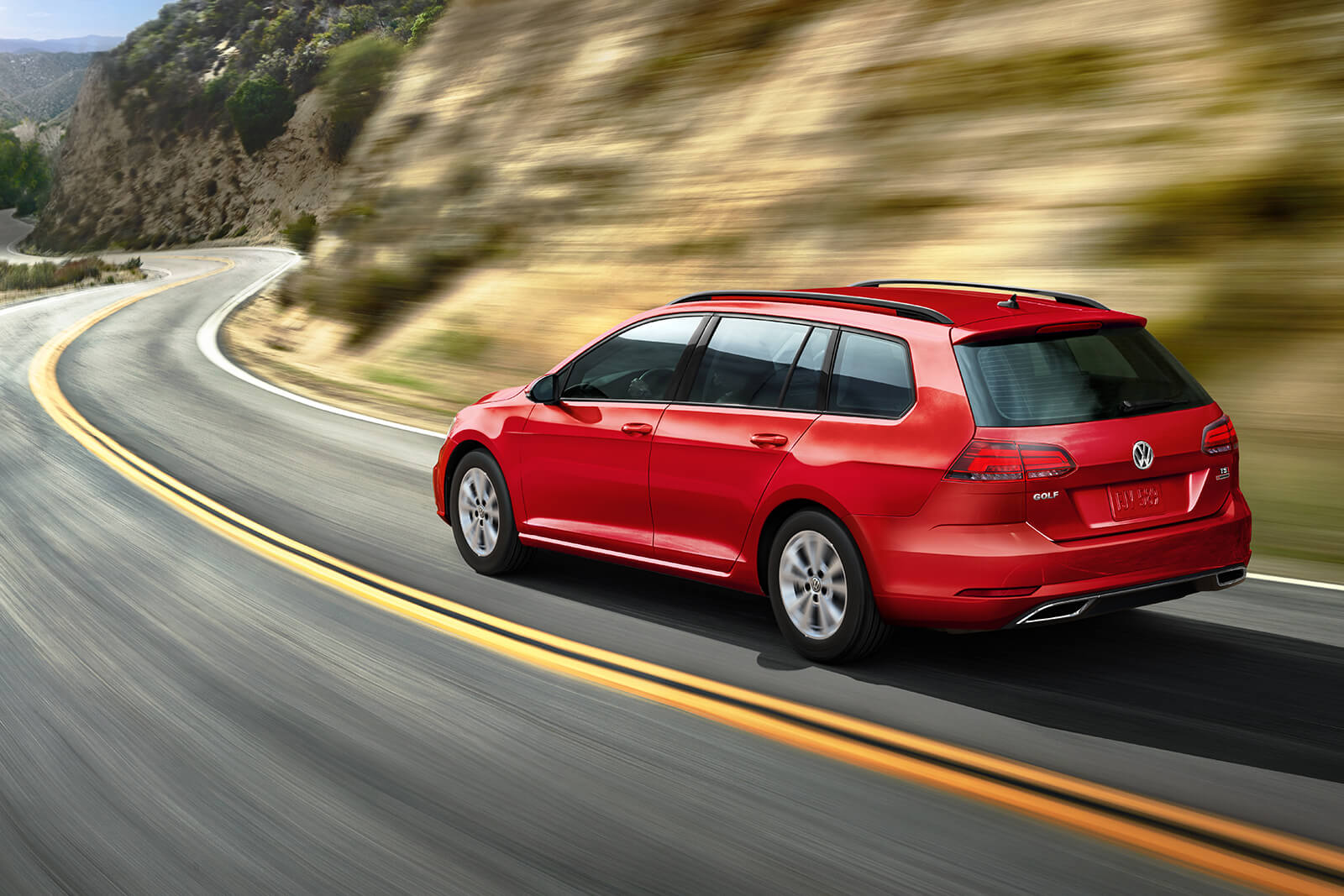 2018 Volkswagen Golf SportWagen Driving Red Exterior