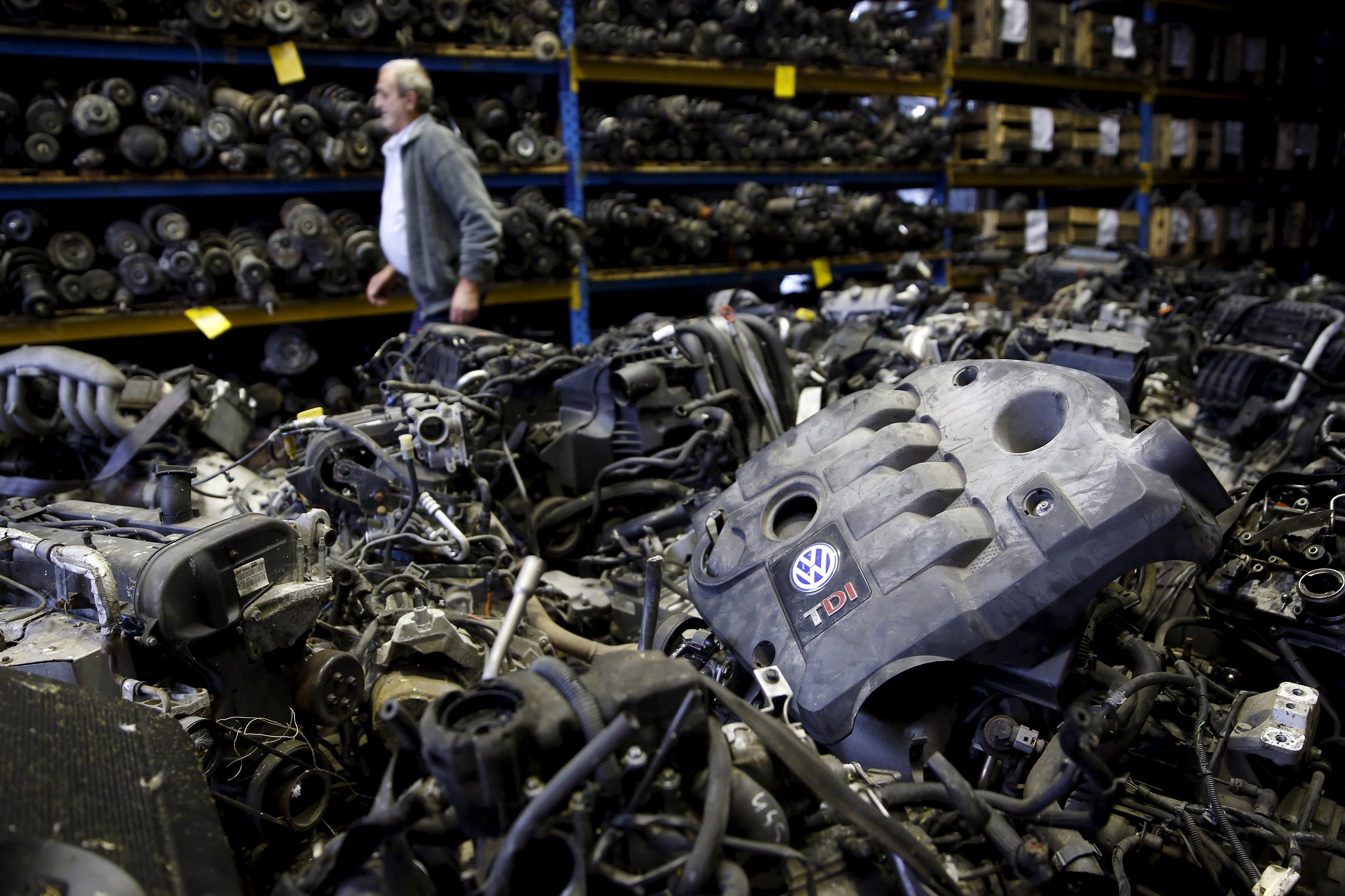 """Volkswagen TDI diesel engines are seen in this photo illustration of second-hand car parts in Jelah, Bosnia and Herzegovina, September 26, 2015. The EU could introduce tougher car emissions tests in the wake of the Volkswagen rigging scandal, senior European officials said. The German carmaker named company veteran Matthias Mueller as its new chief executive on Friday in an attempt to get to grips with a crisis that its chairman described as """"a moral and political disaster"""". REUTERS/Dado Ruvic"""